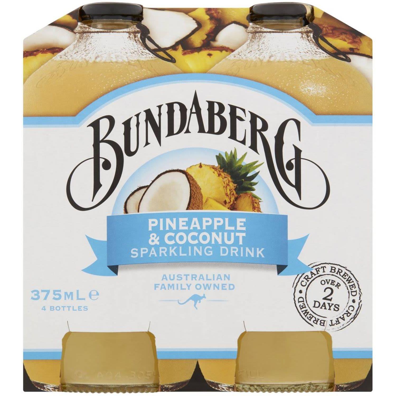 Bundaberg Pineapple & Coconut Sparkling Drink, 4 Each
