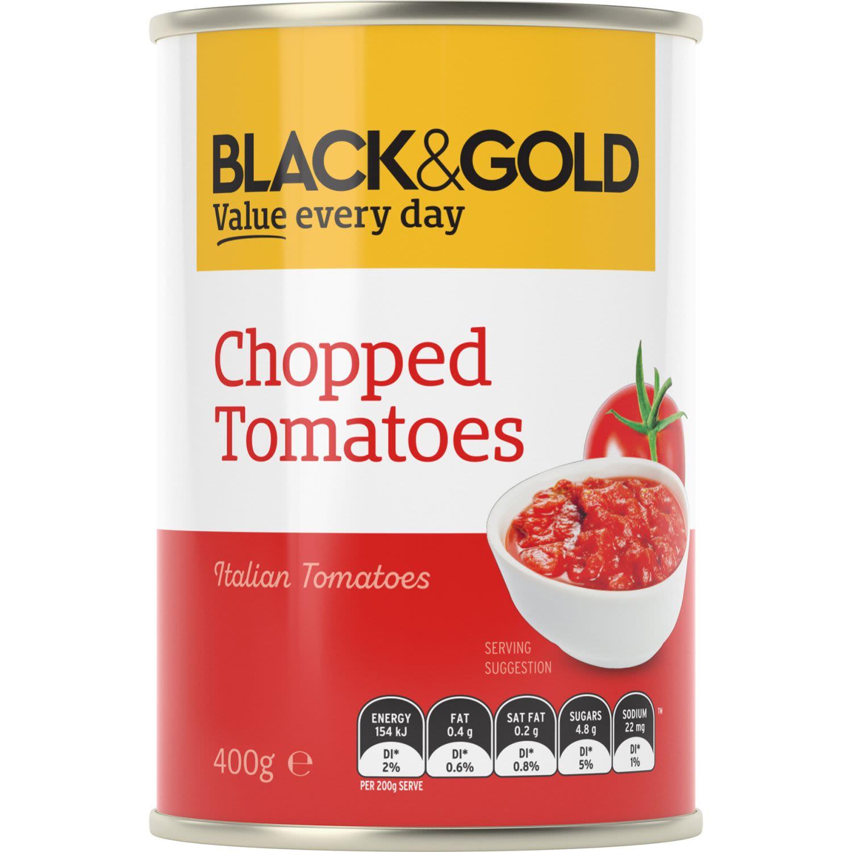 Black & Gold Chopped Tomatoes, 400 Gram