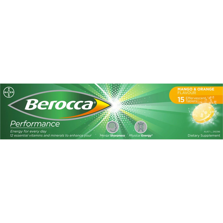 Berocca Vitamin B & C Mango & Orange Flavour Energy Effervescent Tablets, 15 Each