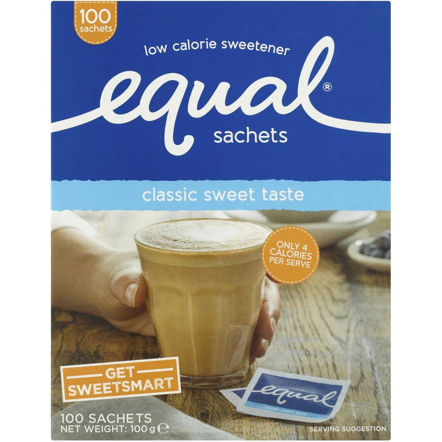 Equal Low Calorie Sweetener Sachets, 100 Each