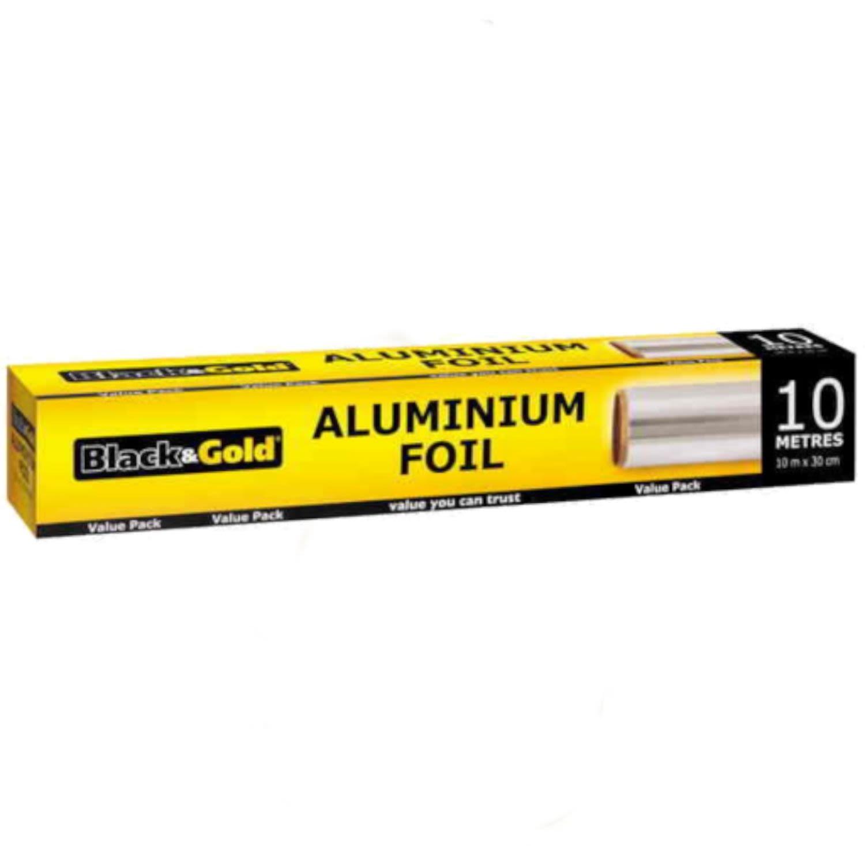 Black & Gold Aluminum Foil 10m, 1 Each