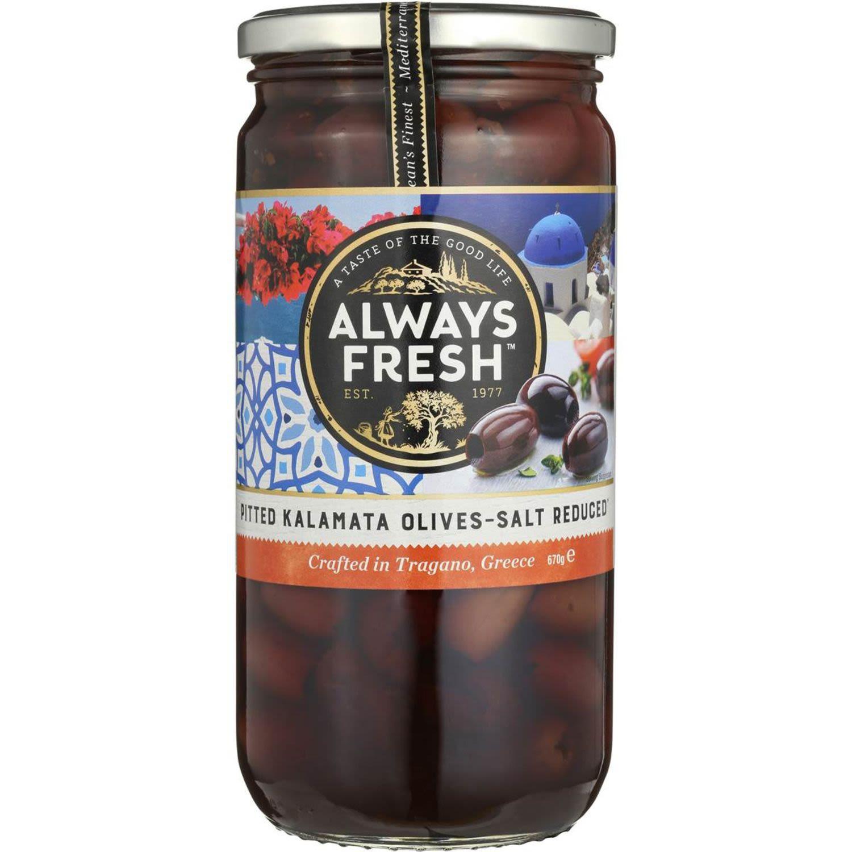 Always Fresh Kalamata Olives Salt Reduced, 670 Gram