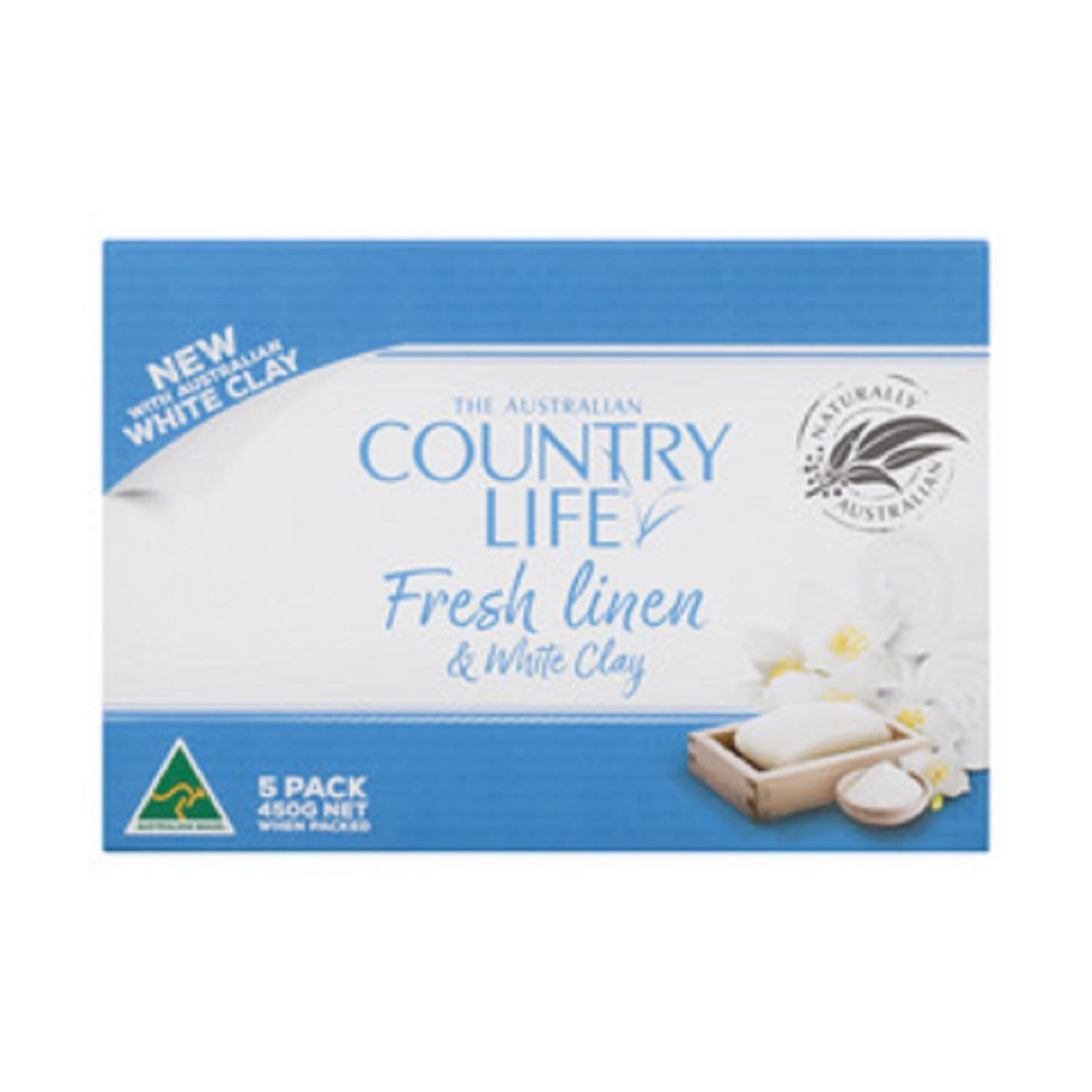 Country Life Soap Bar Fresh Linen and White Clay, 5 Each