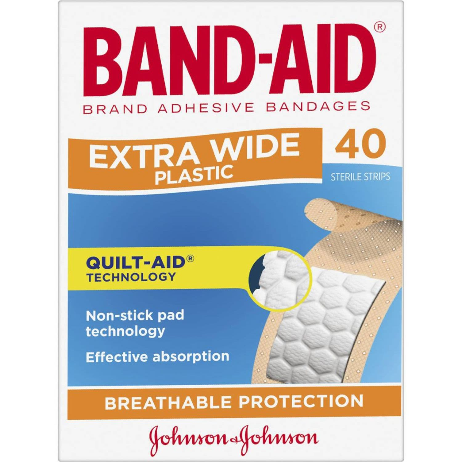 Band Aid Plaster Strips Extra Wide, 40 Each