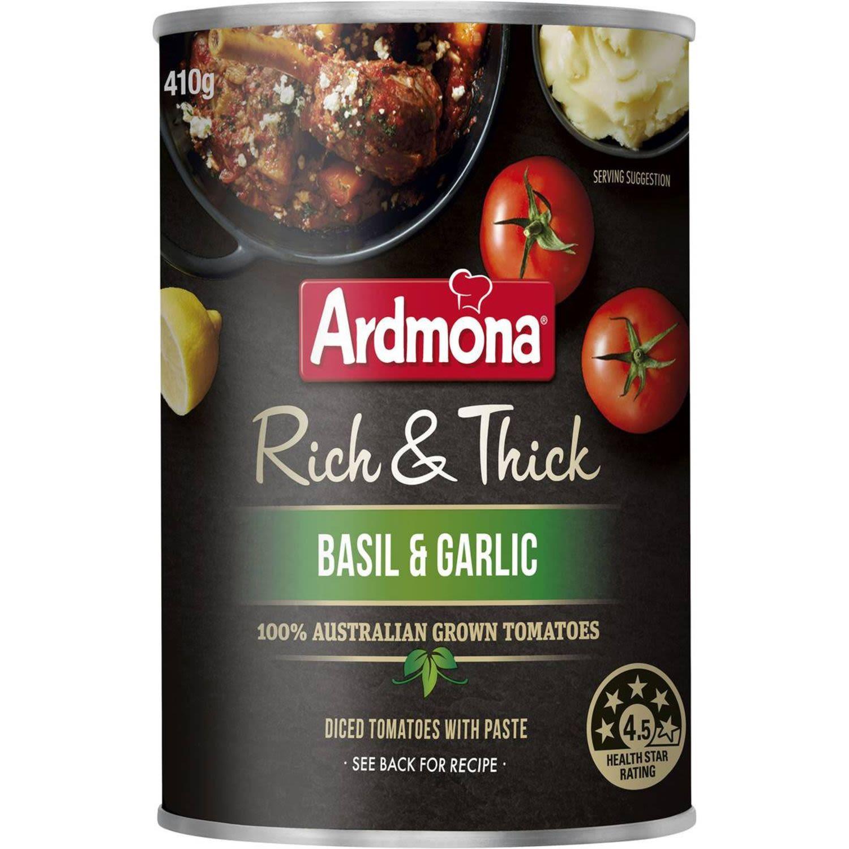 Ardmona Rich & Thick Basil & Garlic Tomatoes, 410 Gram