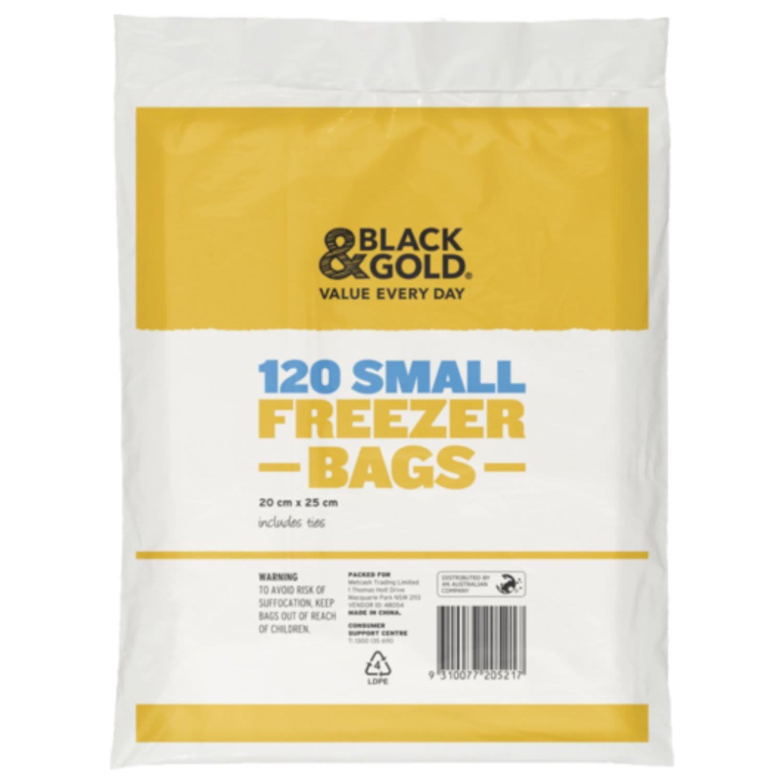 Black & Gold Freezer Bag Small, 120 Each