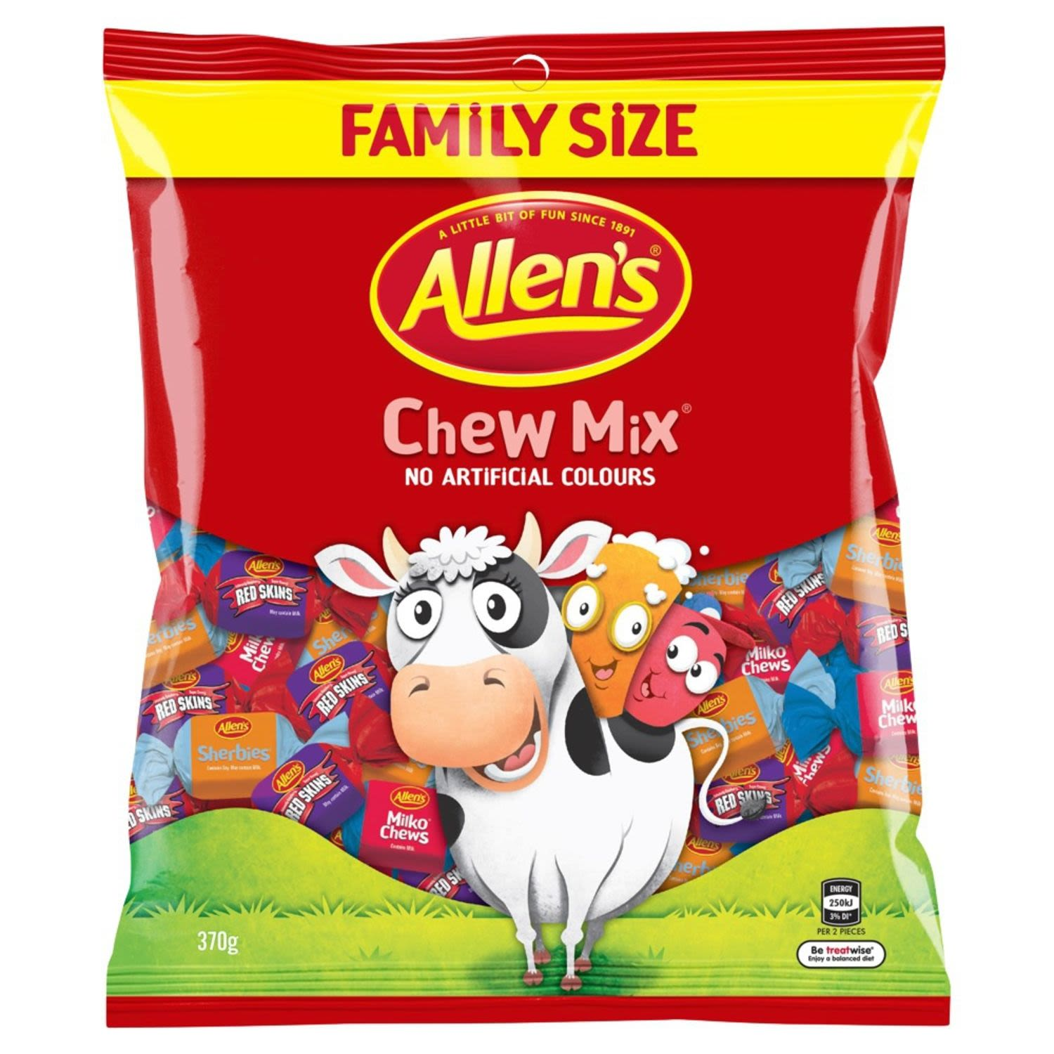 Allen's Chewmix is packed with a mix of creamy milko chews, tangy sherbies and intensely raspberry flavoured redskins. Perfect for sharing so grab a bag, find your favourite and start chewing before they're all gone. Quantity of each type of lolly in each bag may vary. 2 Pieces = 1 Portion. Contains no artificial colours, so are great to share with family and friends. Milko Chews contain 10% Milk Solids. Sherbies contains Soy and may contain Milk. Redskins may contain Milk. Allen's makes smiles!