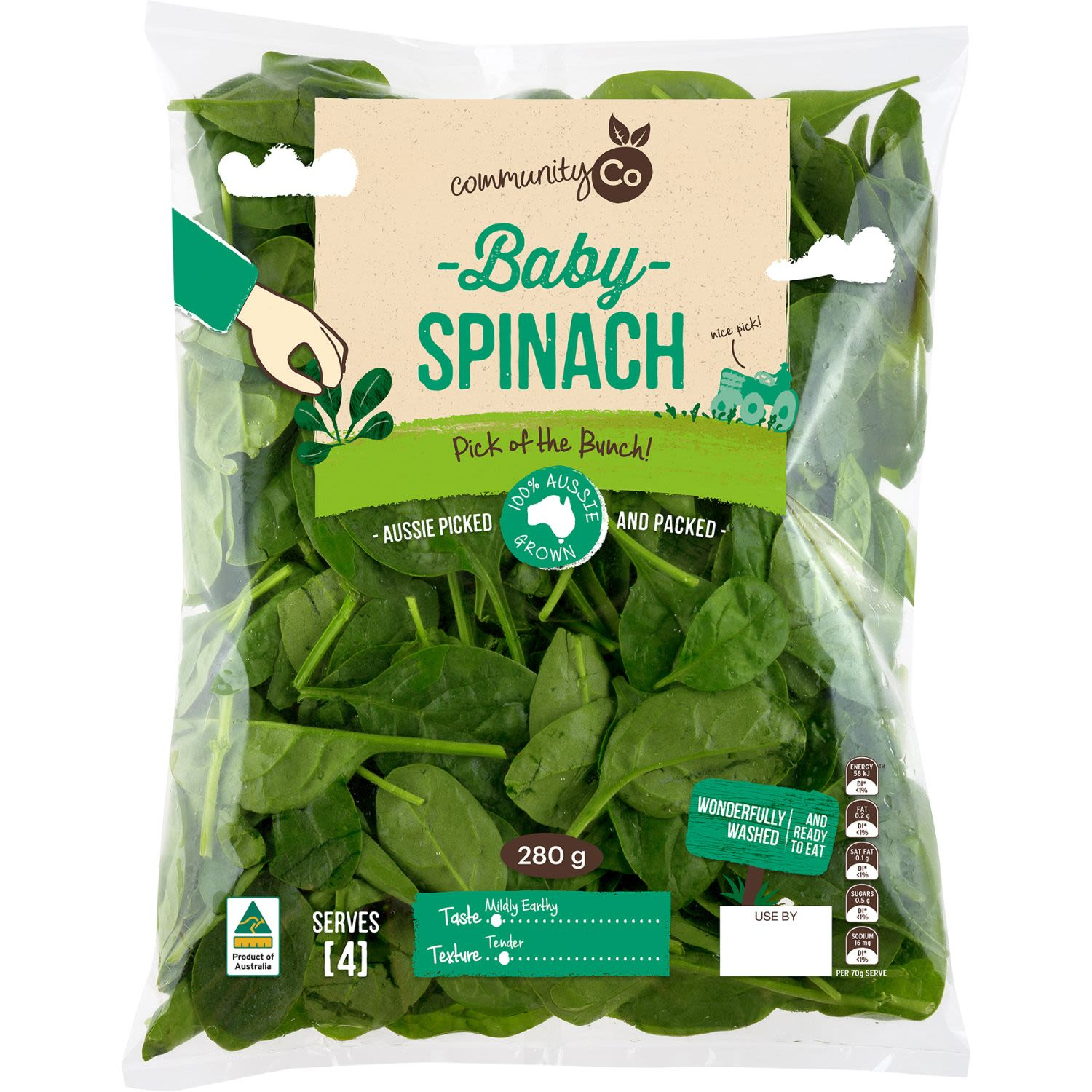 Community Co Baby Spinach, 280 Gram
