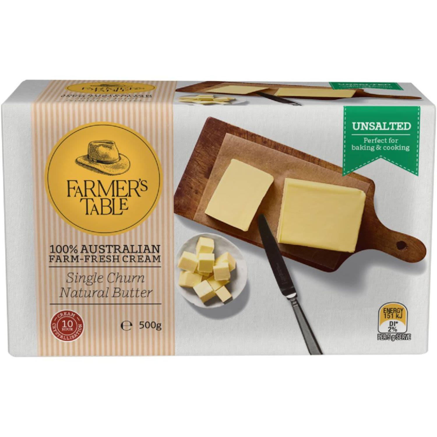 Farmers Table Butter Unsalted, 250 Gram