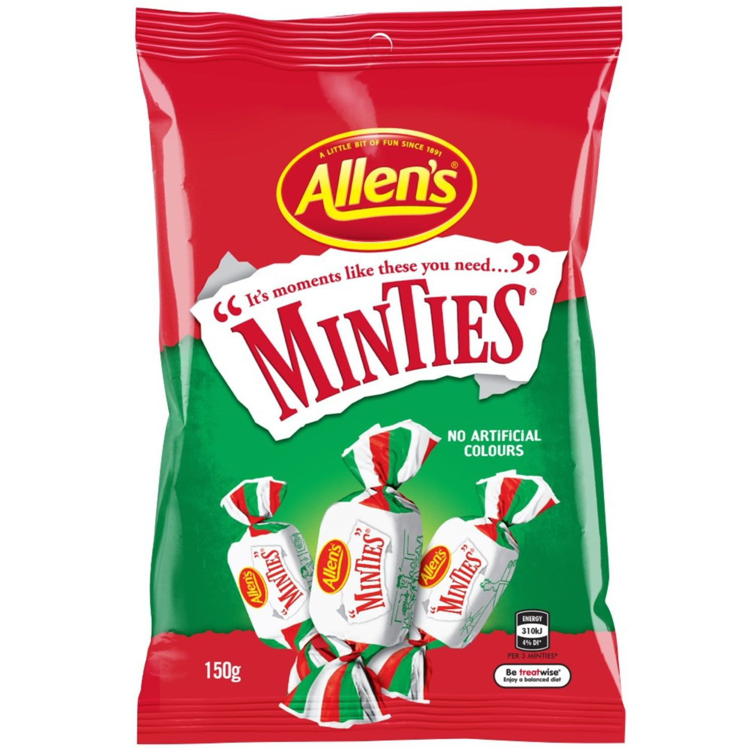 Allen's Minties are a chewy mouthful of minty refreshment and a favourite amongst generations. Pass one to a friend, twist the wrapper open, pick a corner and tear along the edges. Who can tear the longest Minties wrapper strip without letting it rip? But there is more fun yet... pop these yummy refreshing mints in your mouth and chew, chew, chew. 3 Minties  = 1 Portion. Contains no artificial colours so are great to share with family and friends. May contain Egg. Allen's makes smiles!