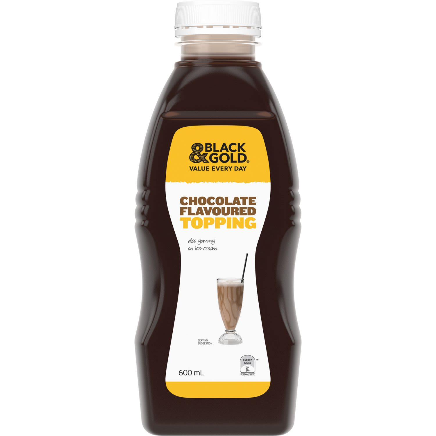 Black & Gold Chocolate Flavoured Topping, 600 Millilitre