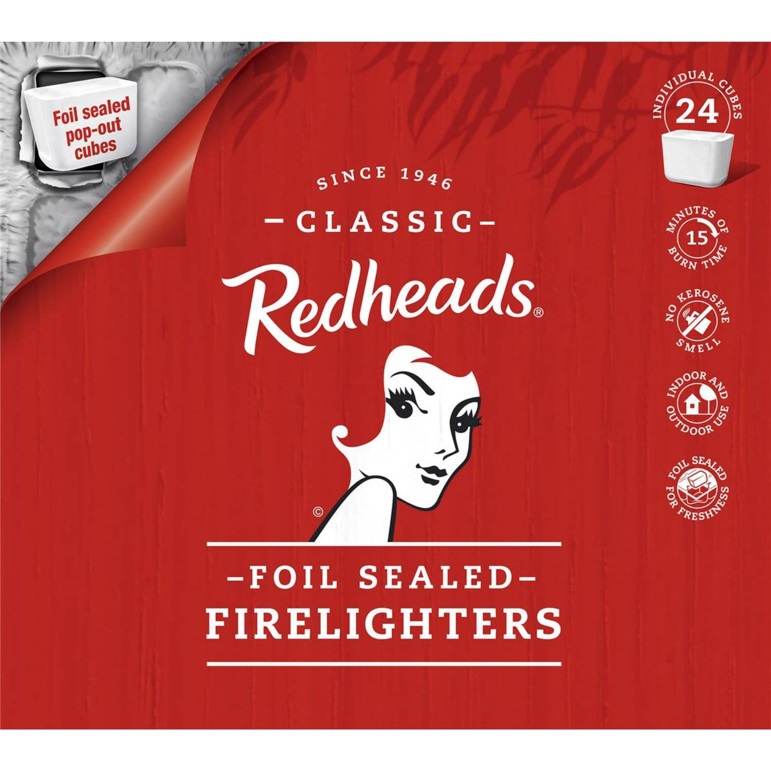 Redheads Foil-sealed Firelighters Fire Lighters, 24 Each