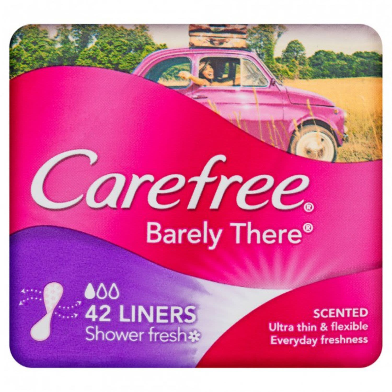 Carefree Panty Liner Barely There Scented, 42 Each