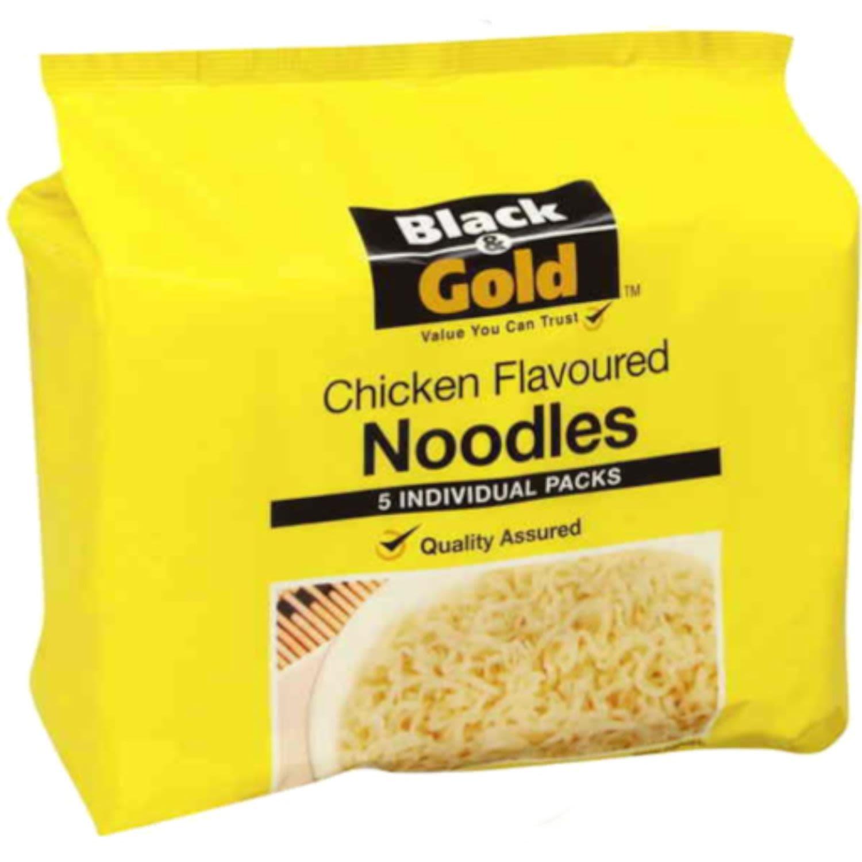 Black & Gold Chicken Flavoured Noodles, 5 Each