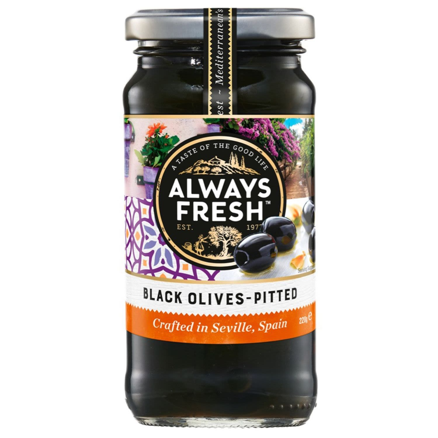 Always Fresh Artisan Collection Black Olives Pitted, 220 Gram