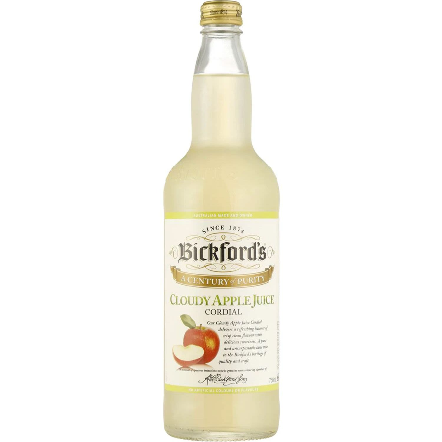 Bickford's Cloudy Apple Cordial, 750 Millilitre