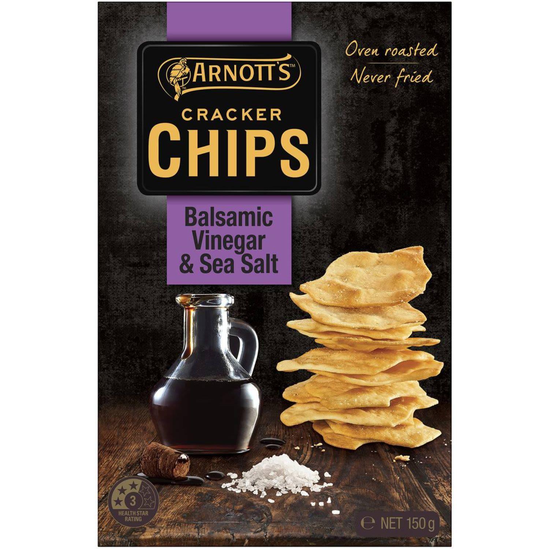 Arnott's Cracker Chips Sea Salt & Balsamic Vinegar, 150 Gram