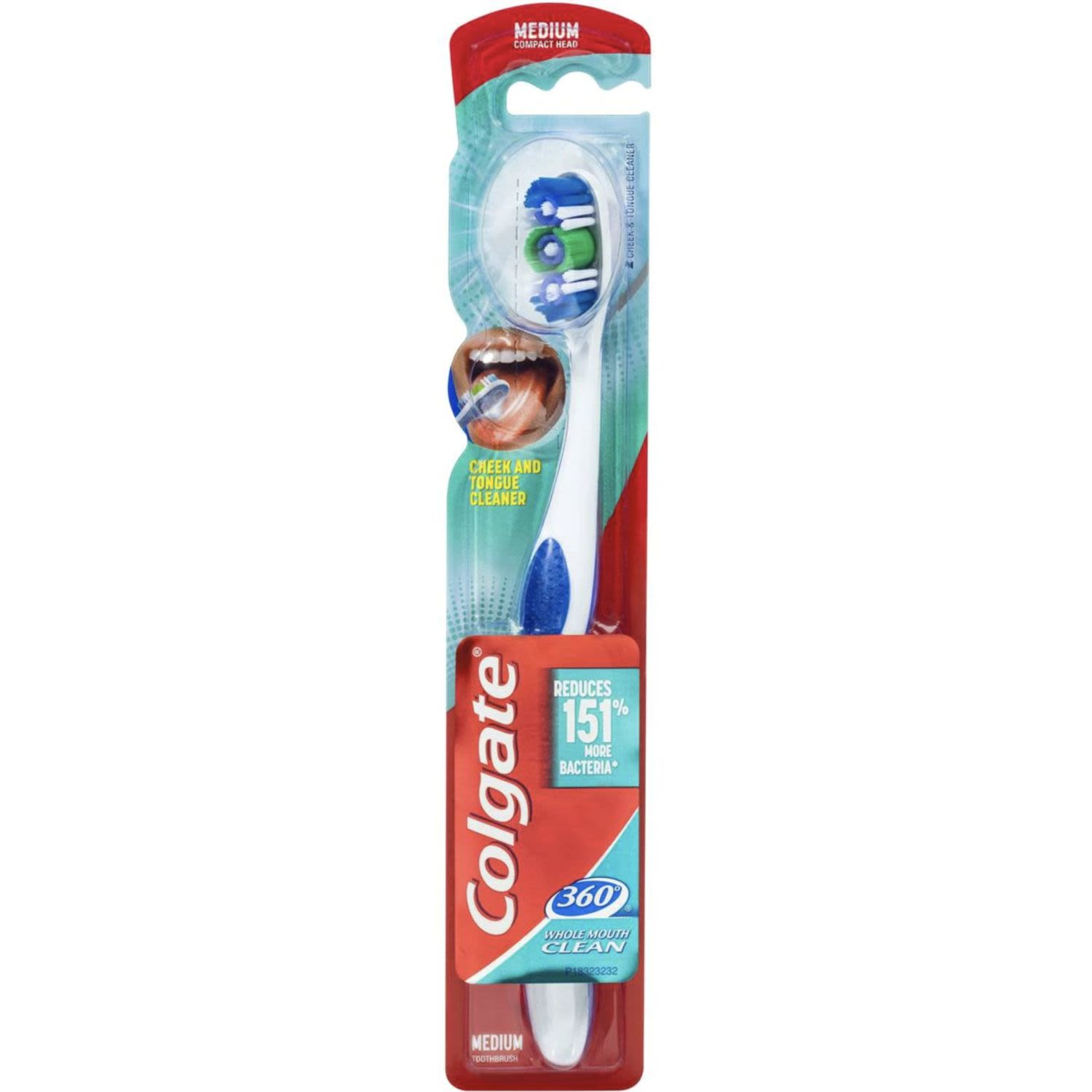 Colgate 360 Degrees Whole Mouth Clean Compact Head Toothbrush Medium, 1 Each