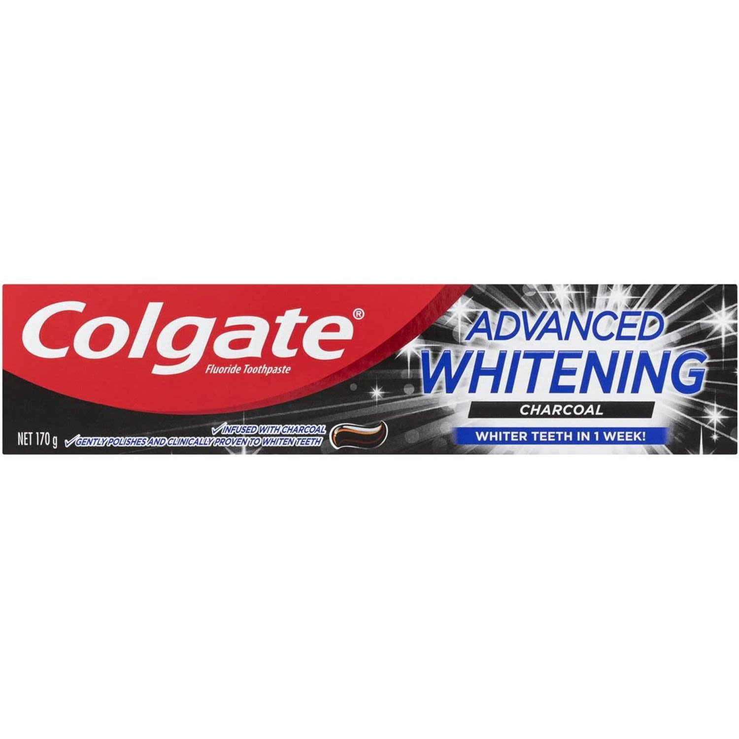 Colgate Advanced Whitening Charcoal Fluoride Toothpaste, 170 Gram