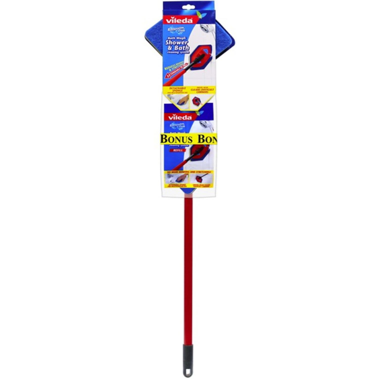 - Extendable handle reduces bending and stretching.  - Includes short handle for cleaning in tight spaces.  - Specially designed swivel head gets into difficult corners.  - With cloth holders for quick cleaning. Recommend for use with Vileda Active Fresh Wipes
