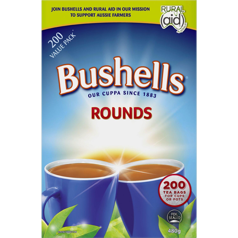 Bushells Round Tea Bags, 200 Each