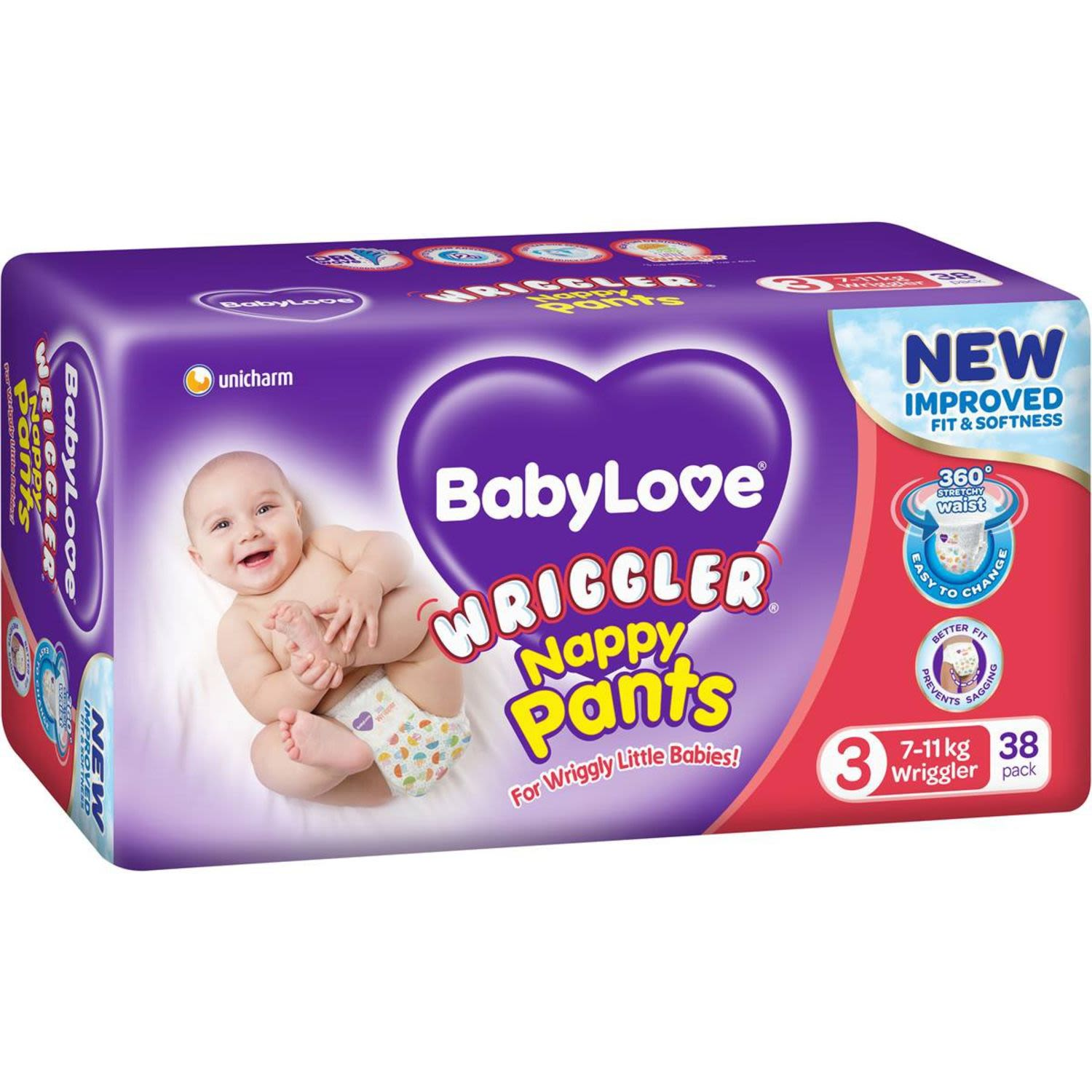 Babylove Nappy Pants Wriggler, 38 Each