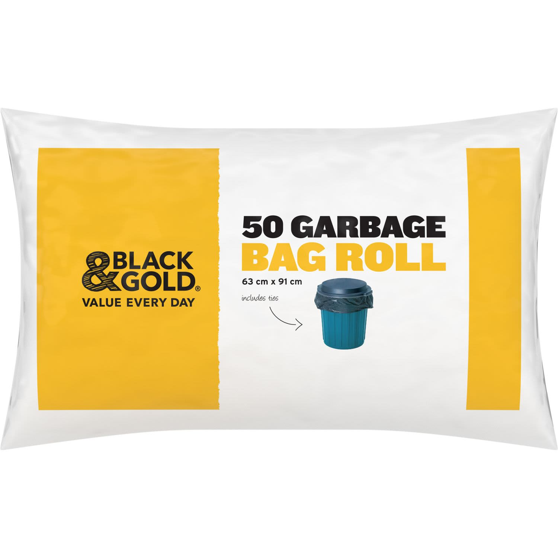 Black & Gold Garbage Bag, 50 Each