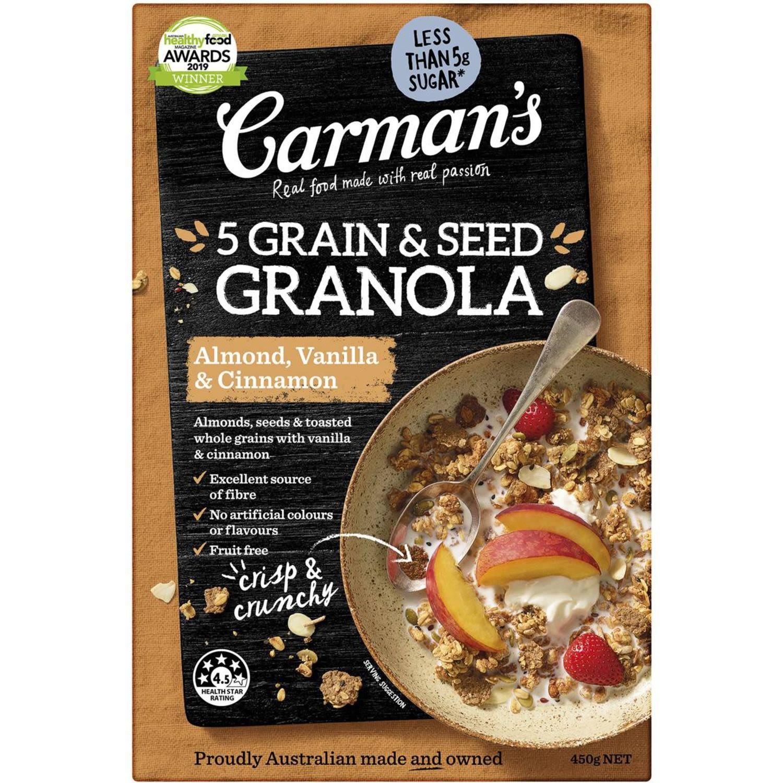 Carman's 5 Grain & Seed Granola Almond Vanilla & Cinnamon, 450 Gram