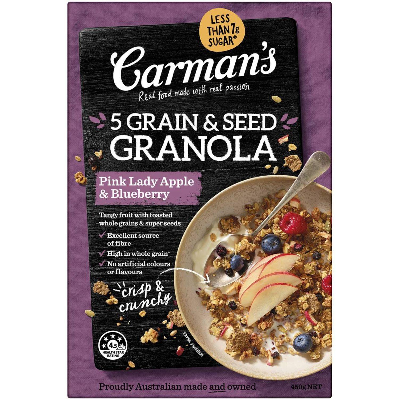 Carman's 5 Grain & Seed Granola Pink Lady Apple & Blueberry, 450 Gram