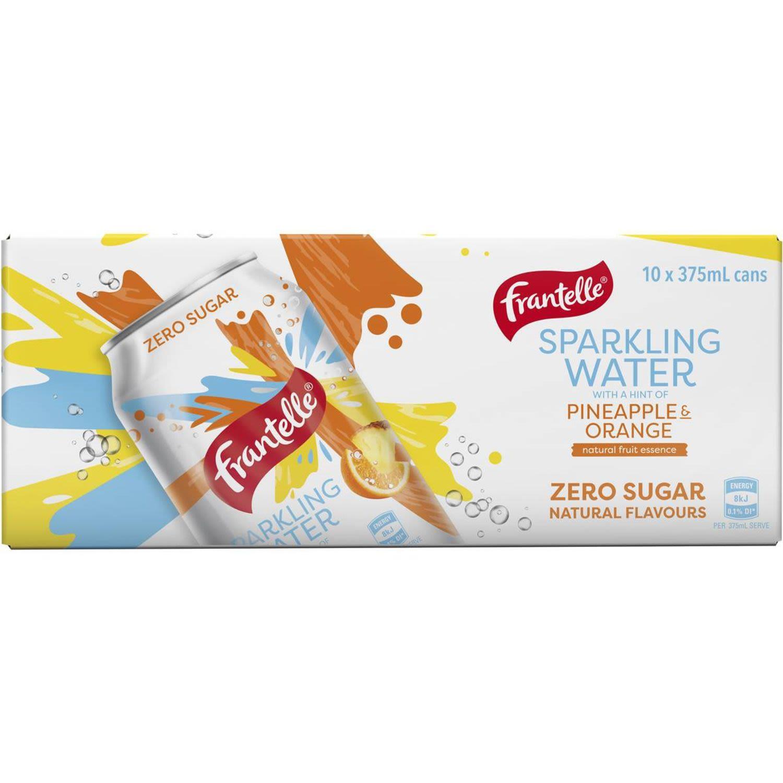 Frantelle Pineapple & Orange Sparkling Water, 10 Each
