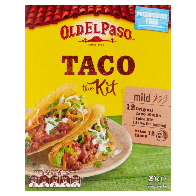 Old El Paso Mexican Mild 12 Taco Kit, 290 Gram