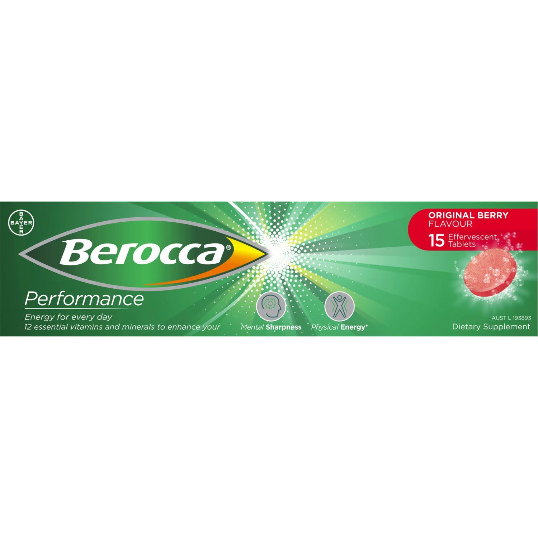 Berocca Vitamin B & C Original Berry Flavour Energy Effervescent Tablets, 15 Each