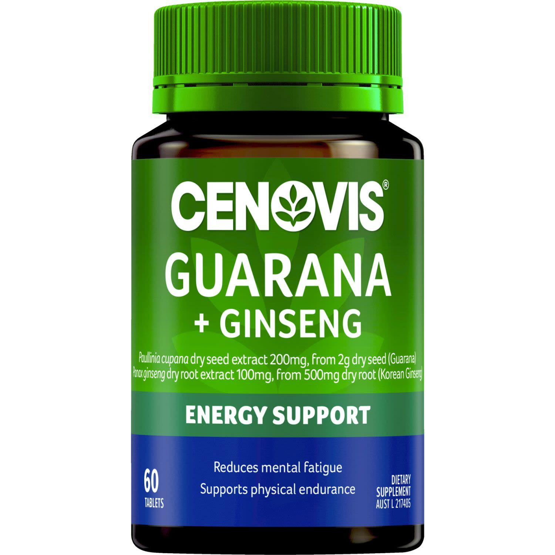 Cenovis Guarana 2000mg & Ginseng 500mg, 60 Each