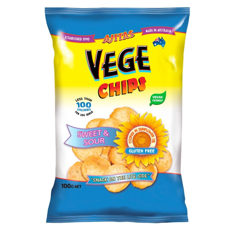 Ajitas Vege Chips Sweet & Sour, 100 Gram
