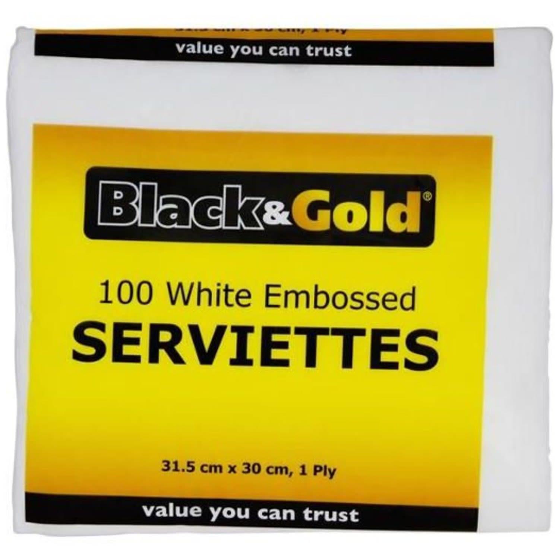 Black & Gold White Napkins, 100 Each