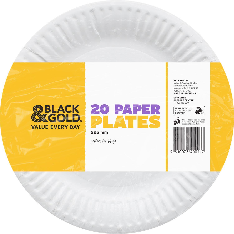 Black & Gold Paper Plates, 20 Each