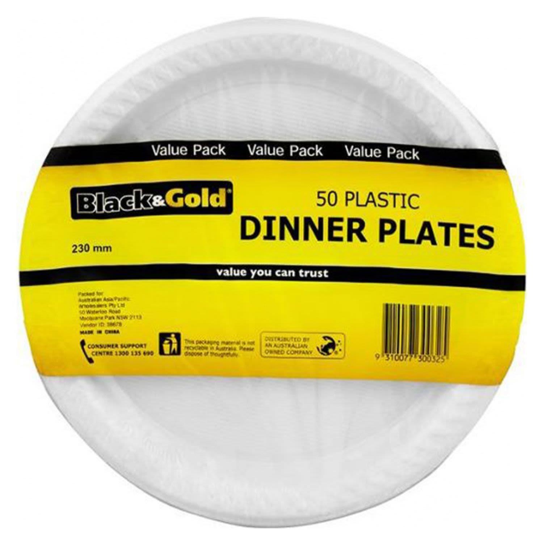 Black & Gold Plastic Dinner Plate 230mm, 50 Each