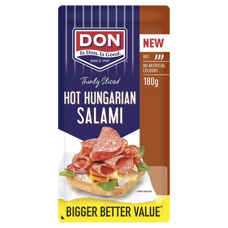 Don Salami Hot Hungarian Thinly Sliced , 180 Gram