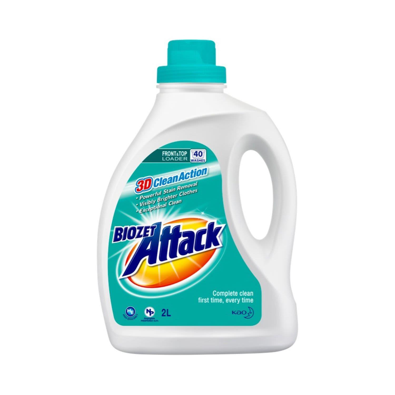 Biozet Attack Front & Top Loader Regular Laundry Liquid, 2 Litre