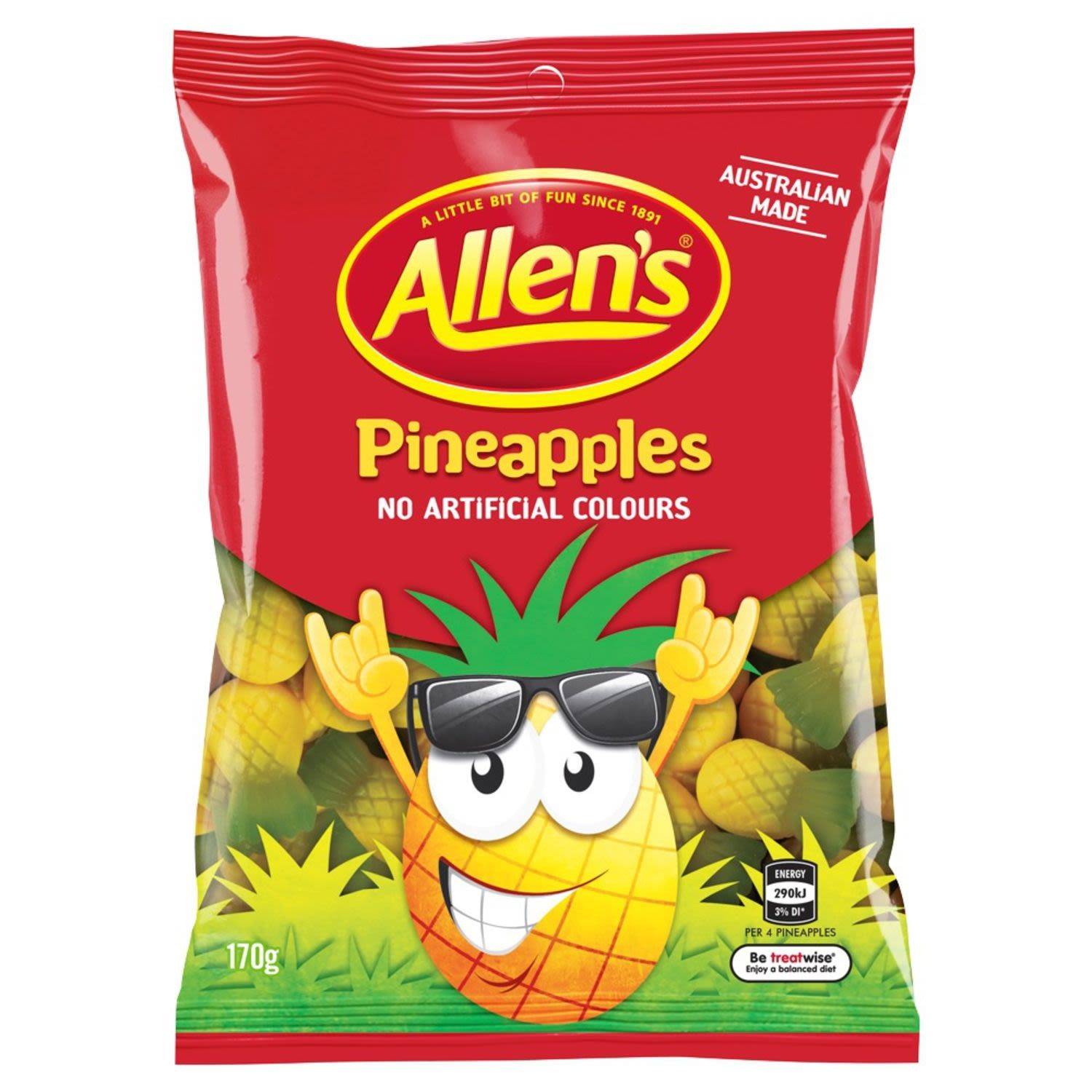 Allen's Pineapples are a juicy, bite sized treat for your taste buds. Catch these cool yellow and green pineapples before they party on out of town! Squish each deliciously soft pineapple flavoured jelly between your fingers, stretch it, bite the top off or just enjoy it in one yummy bite. 4 Pineapples = 1 Portion. Australian made and contains no artificial colours, so are great to share with family and friends. Contains Wheat. May contain Milk. Allen's makes smiles!