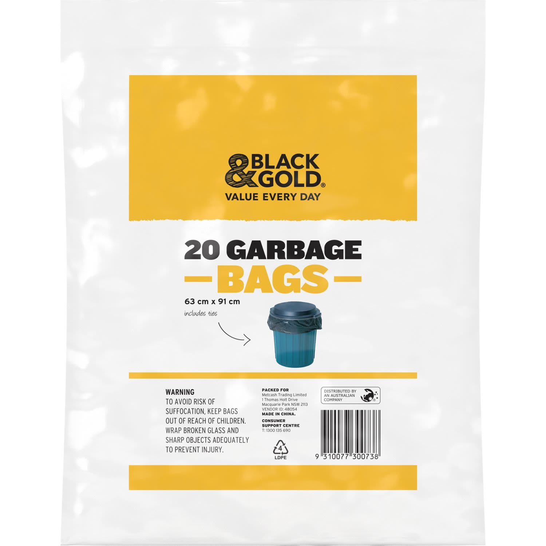 Black & Gold Garbage Bag, 20 Each
