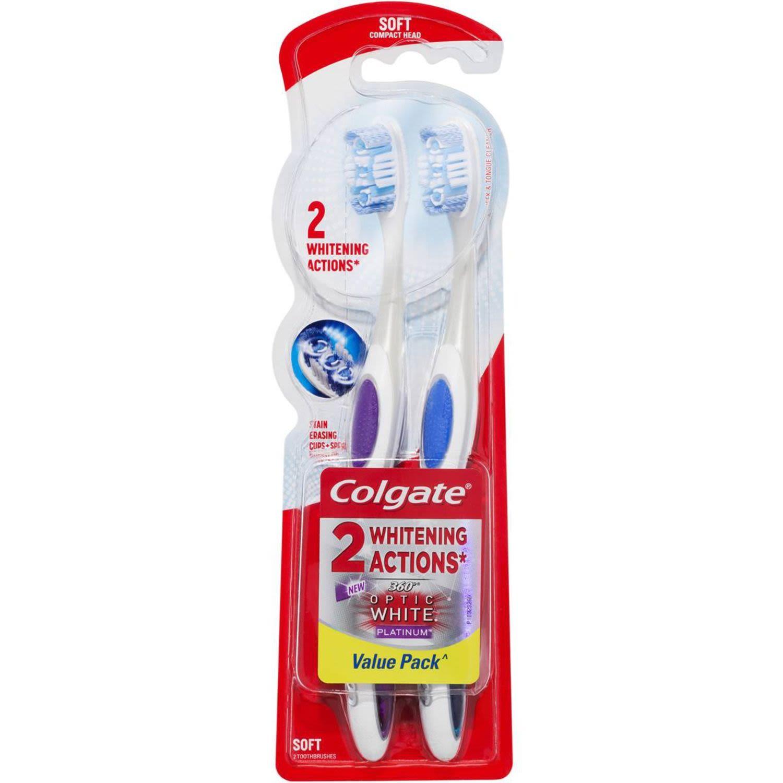 Colgate 360 Degrees Optic White Platinum Toothbrush Soft, 2 Each