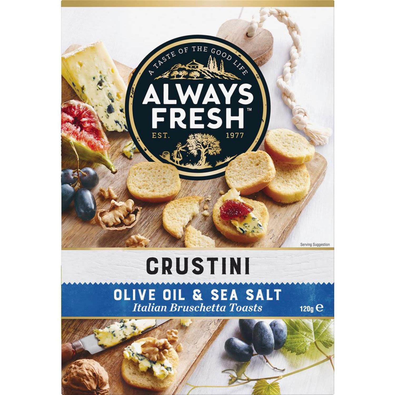 Always Fresh Crustini Crispbread Olive & Sea Salt, 120 Gram
