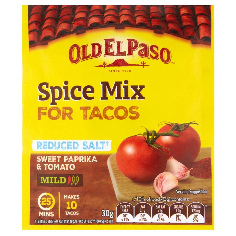 Old El Paso Mexican Reduced Salt Taco Spice Mix Mild, 30 Gram