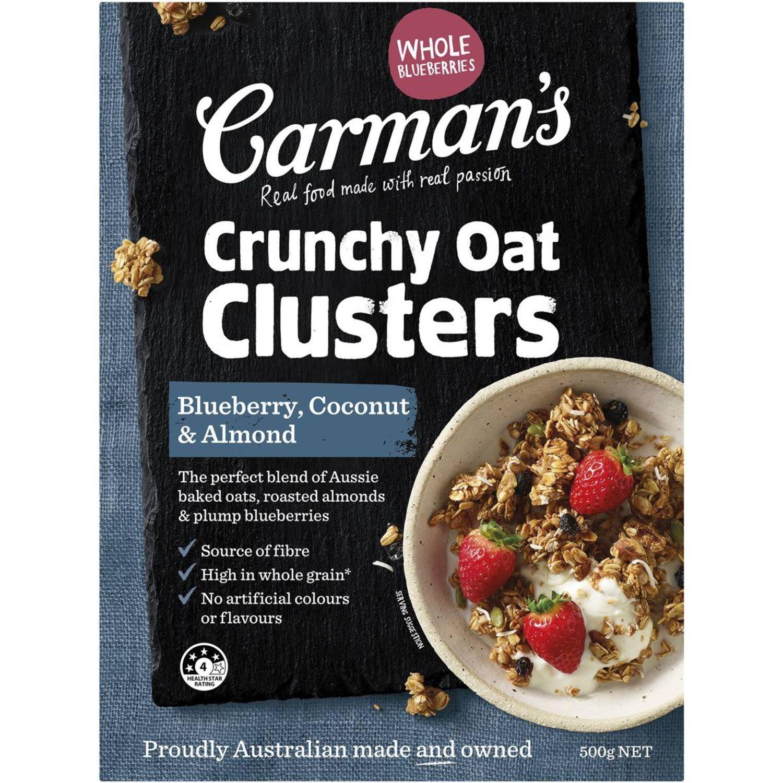 Carman's Blueberry, Coconut & Almond Crunchy Clusters, 500 Gram