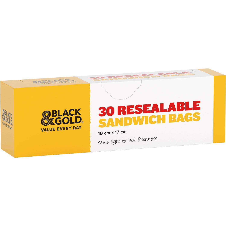 Black & Gold Resealable Sandwich Bags, 30 Each
