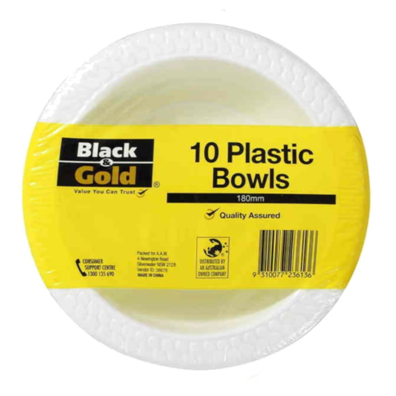 Black & Gold Bowl Plastic 180mm, 10 Each