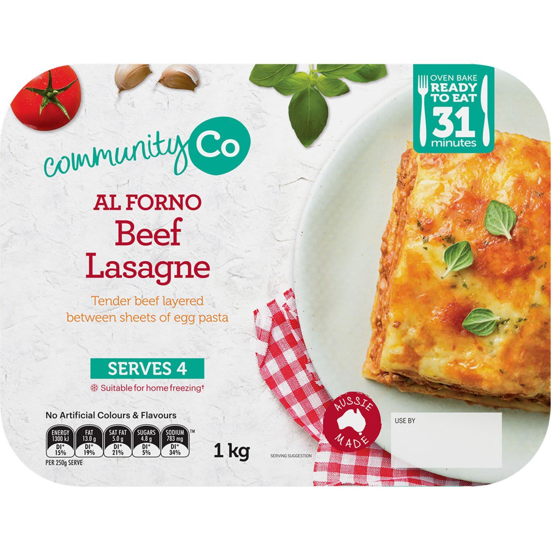 Community Co Al Forno Beef Lasagna, 1 Kilogram