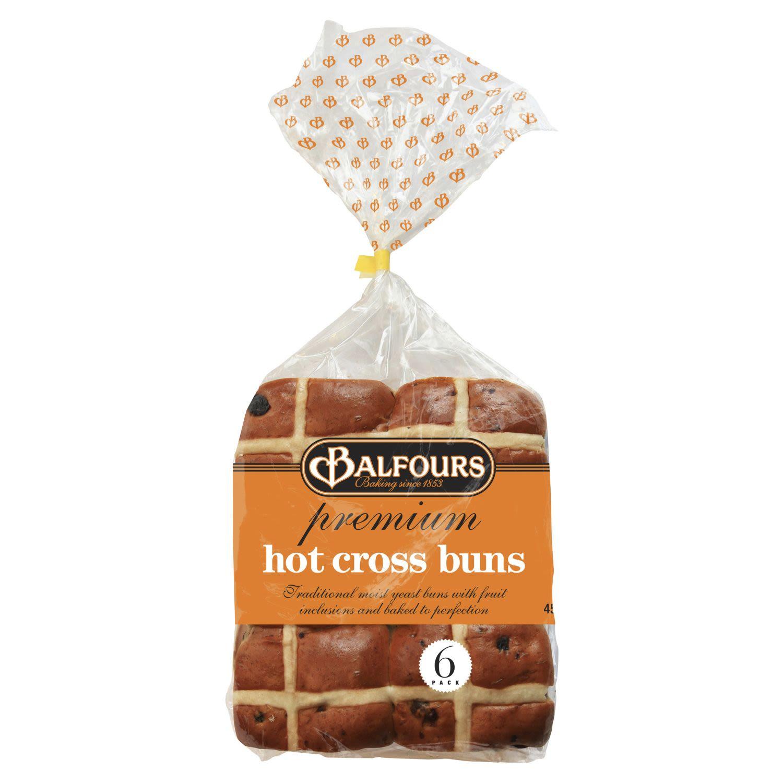 Balfours Premium Fruit Hot Cross Bun, 6 Each