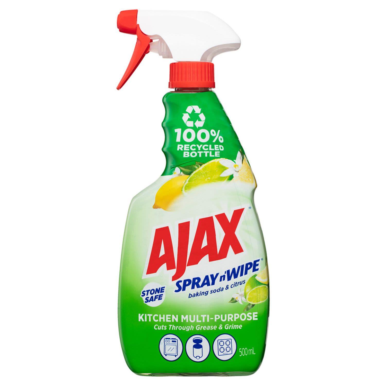 Ajax Spray n' Wipe Multi-Purpose Kitchen Household Cleaner Trigger Surface Spray Baking Soda & Citrus Stone Safe, 500 Millilitre